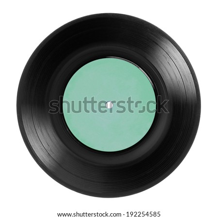 1970s single EP record or analog disc (33 or 45 rpm / 7 inch), isolated on white.  - stock photo
