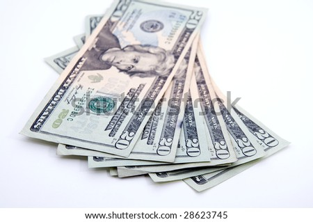 20s spread out, focus on numbers - stock photo