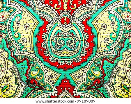 80s style, bright, neon, beautiful, psychedelic arabesque ornament. Good for abstract or oriental design. - stock photo