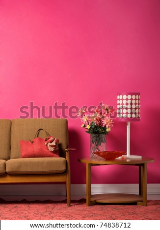 1960's style living room interior - stock photo