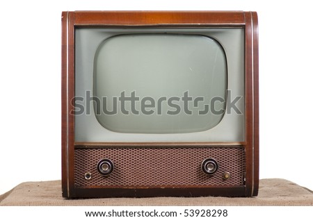 1960's television on a white background - stock photo