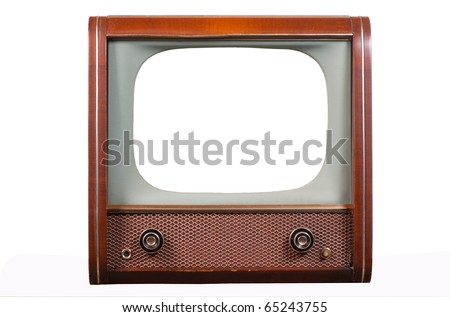 1960's television on a white background with isolated screen - stock photo
