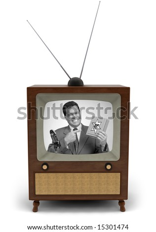 1950's television with a newscaster reading a news bulletin - stock photo