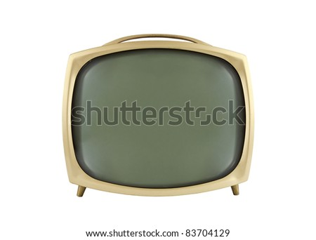 1950's vintage television isolated on white. - stock photo