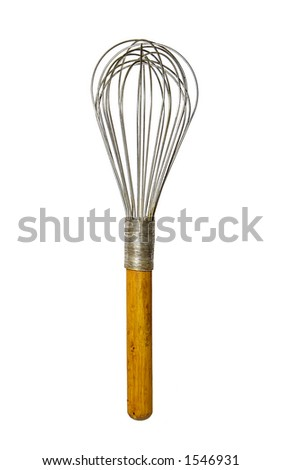 1940s wire whisk with wood handle - stock photo