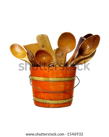 1950s wooden bucket of spoons and spatulas - stock photo