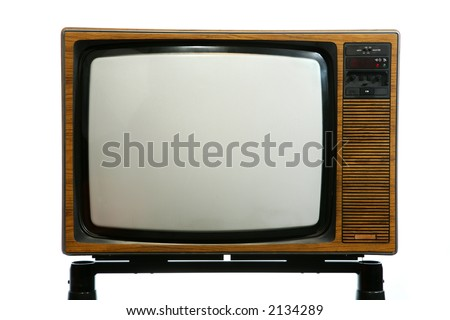 1970s wooden cabinet colour TV set