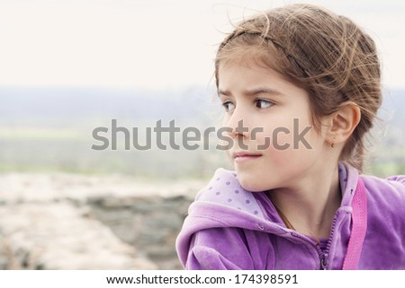sad and desperate little girl - stock photo