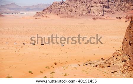 Safari at Wadi Rum desert in Jordan - stock photo