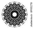 """""""Saffron Glyph"""" black and white sunflower symbol - stock photo"""