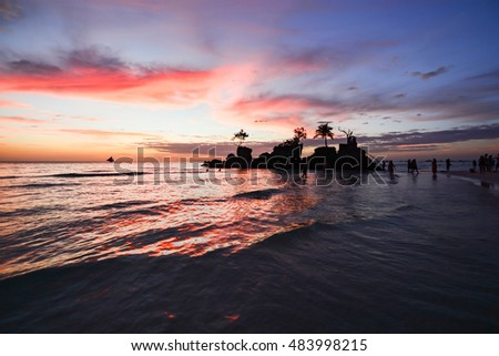 Sailboats,  Amazing colors of tropical sunset. Boracay island, Philippines