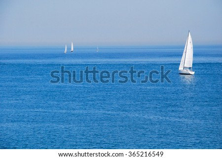 4 sailboats at sea