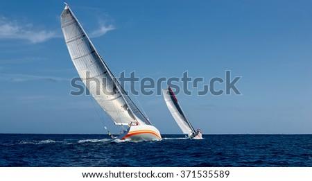 Sailing yachts regatta.  Yachting. Sailing. - stock photo