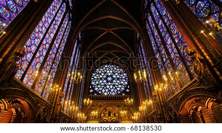 Sainte-Chapelle Chapel in Paris, France. Famous stained glass windows and ceiling. - stock photo