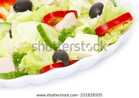 salad in plate on white - stock photo