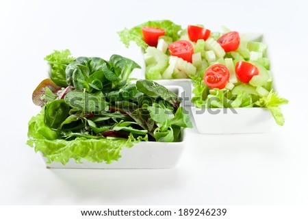 Salad with a celery, tomatoes and fresh greens
