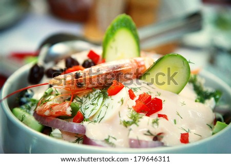 Salad with Shrimps and  Vegetables - stock photo