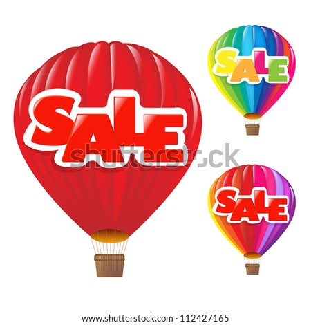 3 Sale Air Balloon, Isolated On White Background - stock photo