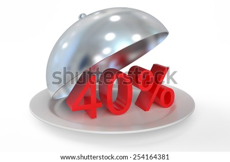40 %,  sale and discount concept  isolated on white background - stock photo
