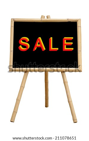 """""""SALE"""" Chalkboard with Bamboo wood Stand Isolated on White Background with Clipping Path. - stock photo"""