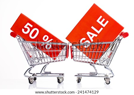 50% sale icon,crazy sale concept with shopping cart  - stock photo