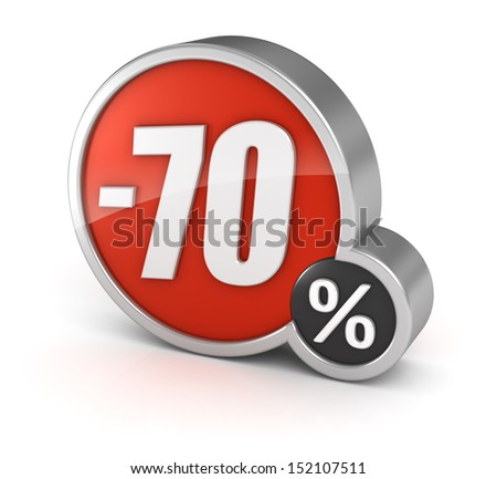 70% sale / 70 percent discount 3d icon on white background with clipping path. - stock photo