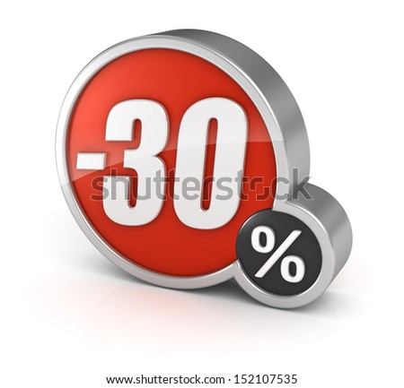 30% sale / 30 percent discount 3d icon on white background with clipping path. - stock photo
