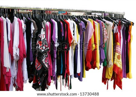 Sales of summer clothing on the market. Closeup. - stock photo