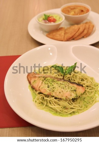 salmon and green pasta - stock photo