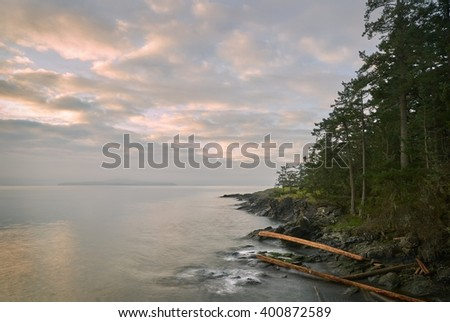 Salt Spring Island Shore, BC. The early morning, misty view from Ruckle Provincial Park on Saltspring Island. British Columbia, Canada.                      - stock photo
