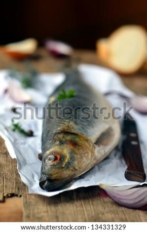 Salted herring - stock photo