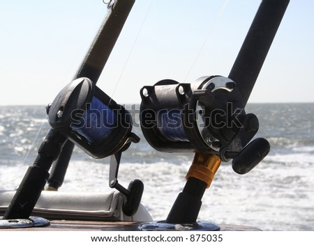 2 Saltwater Fishing Reels - stock photo