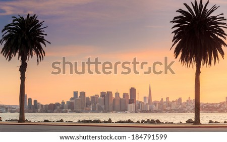 San Francisco and Bay Bridge taken from Treasure Island. - stock photo