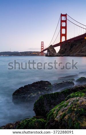 ?San Francisco Golden Gate Bridge at sunset - stock photo