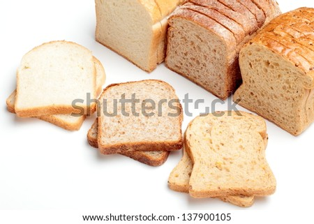 sandwich bread on white background