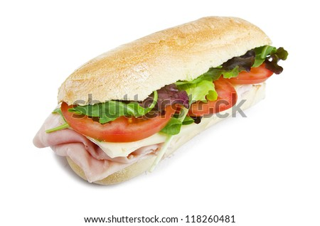sandwich with lettuce, tomatoes, ham and cheese - stock photo