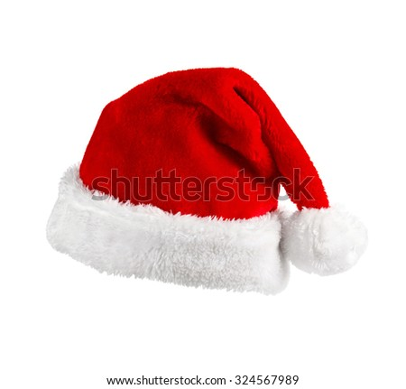 Santa Claus red hat on the white background  - stock photo