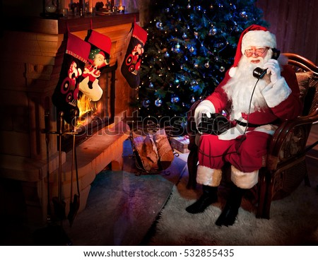 Santa Clause Calling on the Phone in the Christmas Night.