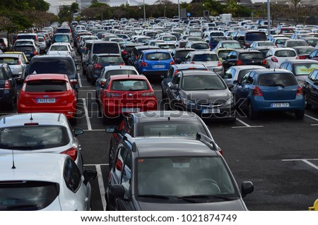 Santa Cruz,Tenerife,Spain,07-02-2018: a  car  parking