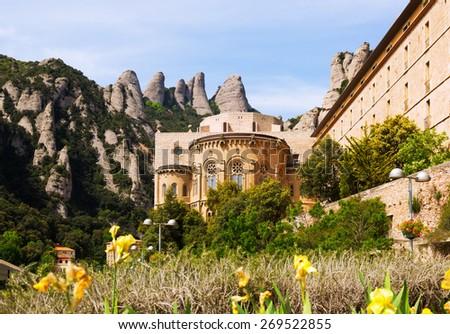 Santa Maria de Montserrat monastery in Pyrenees. Barcelona, Spain - stock photo