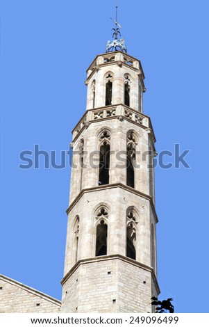 Santa Maria del Mar is an church in the Ribera district of  Barcelona Spain - stock photo