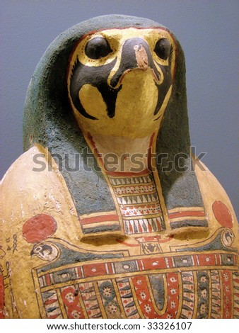 sarcophagus for a mummy of the Egyptian Pharaoh - stock photo