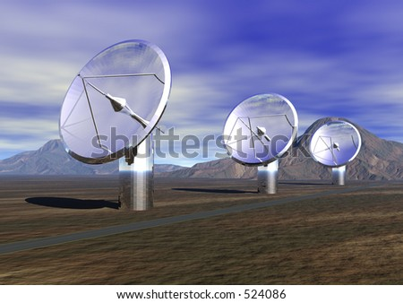 3 Satellite dishes - 3D illustration - stock photo