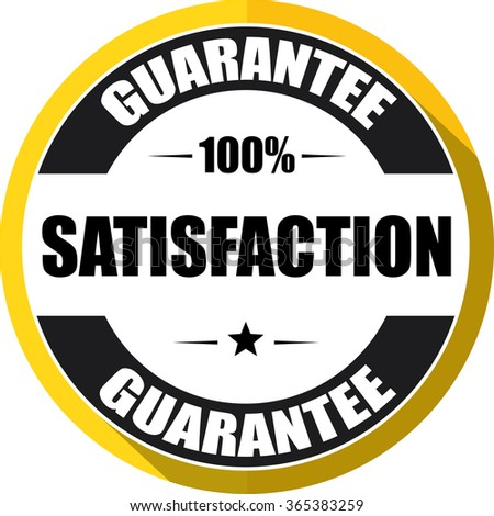 100% satisfaction guarantee yellow, Button,label and sign. - stock photo