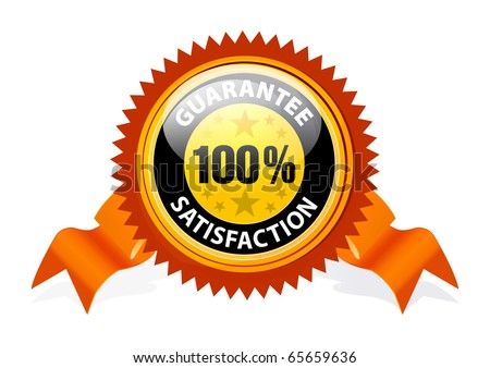 100% Satisfaction Guaranteed Sign with ribbon on white background - stock photo
