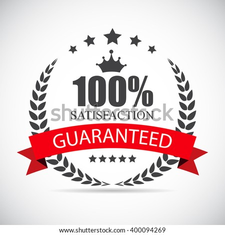 100 % Satisfaction Label Illustration