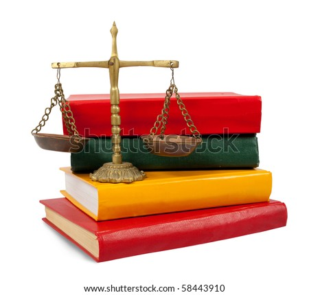 Scales of justice atop legal books over white - stock photo