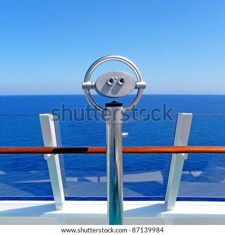 Scenic lookout Binoculars at the sea - stock photo