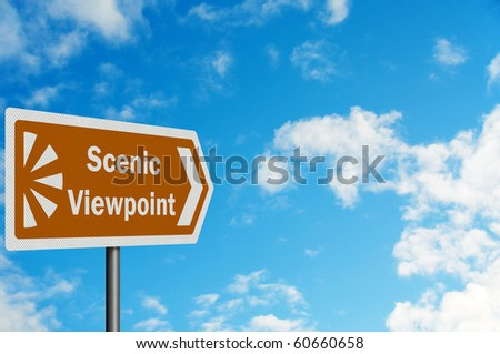 'Scenic Viewpoint' - photo realistic brown tourist information sign, with space for your text / editorial overlay