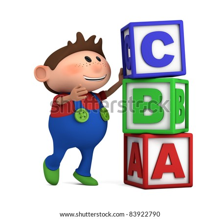 school boy stacking ABC blocks on top of each other - high quality 3d illustration - stock photo